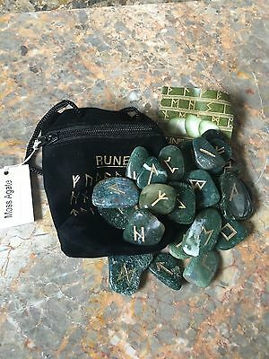 Moss Agate Runes, Rune Stones with Pouch & Runic Symbol Sheet, Good Luck