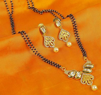 396 Indian Bridal Jewelry Earings Necklace Gold Plated Mangalsutra Black Beads