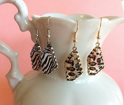 2 Pairs Beautiful Animal Print Faux Gem Silver Gold Plated Dangle Earrings