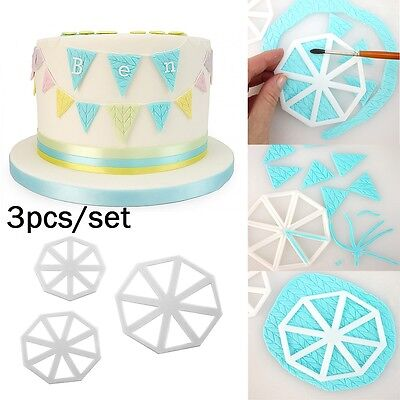 3pcs/Set Easy Bunting Cutters Icing Cake Decorating FMM Fondant Sugarcraft Mould