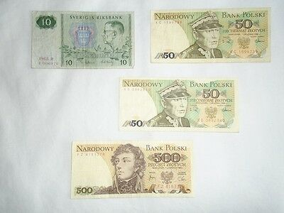 Sweden 10 Tio Kronor Krona Crowns Swedish Bank Note Poland 50 Polish zloty Money