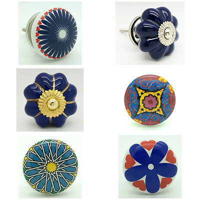 Blue Ceramic Door Knobs Vintage Shabby Chic Cupboard Pull Handles