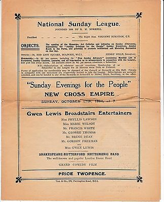 """""""sunday Evenings For The People"""" At The New Cross Empire 17Th October 1926"""