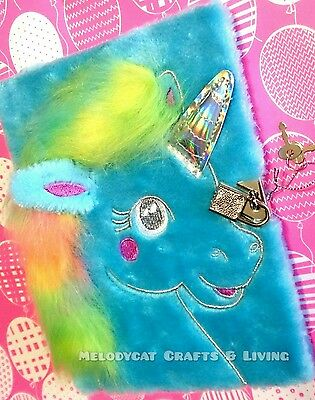 SMIGGLE FURRY Fluffy A5 Lockable Diary Journal Notebook ~ ·BLUE UNICORN·~