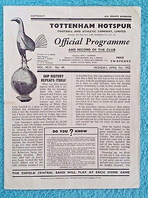 1952 - FA CUP SEMI FINAL REPLAY PROGRAMME - ARSENAL v CHELSEA