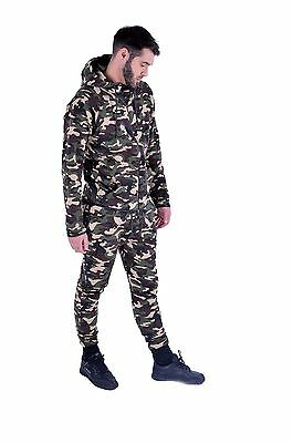 Mens Camouflage Print  Fitted Tracksuit Cuffed Joggers Zipper Hoodie Tracksuit