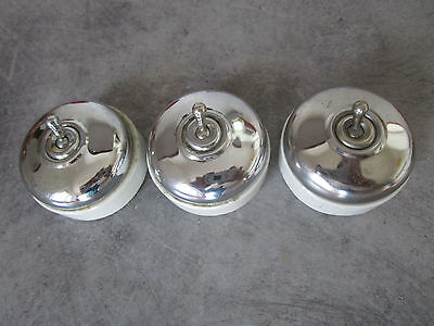Three Vintage French Toggle/Dolly Switches Chrome and Porcelain. Industrial