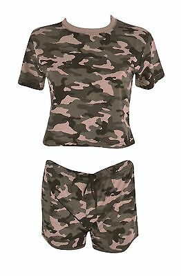 Women's Camouflage Crop Top T-Shirt & Shorts Full Set With Elasticated Short