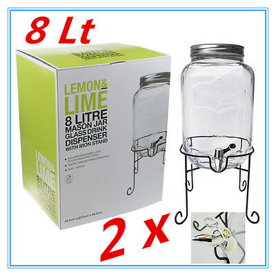 2 X 8Liter Clear Glass Mason Jar Drink Dispenser W Black Iron Stand Lid Party Ap