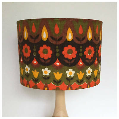 Extra Tall Vintage Retro 70s Scandi Floral Fabric Drum LampShade Light Shade