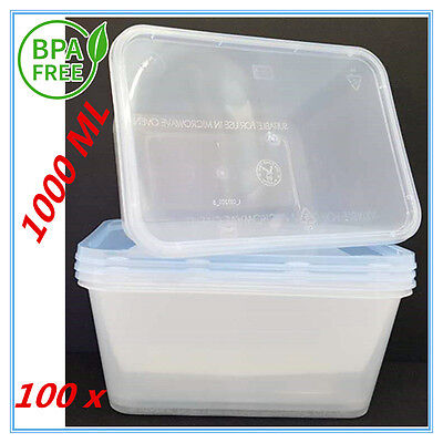 100Xplastic Take Away Rectangle Food Safe Container Containers 1000Ml Bpafree Ap