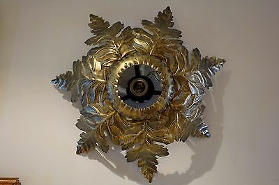 Lámpara plafón sol vintage 1960s metal sun sunburst ceiling lamp sconce leaves