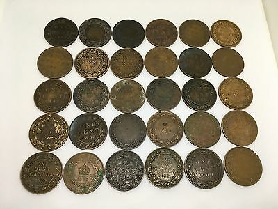 Qty 30 Canada Large Cent 1888, 1900, 1936, 1918, 1919, 1913, 1899, 1892ect