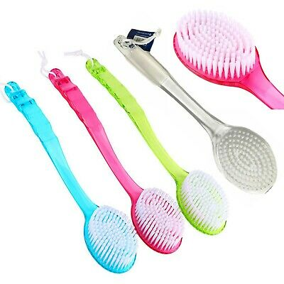 Bath Brush Back Scrubber Long Grip Shower Curved Handle Body Cleaning Spa Sponge