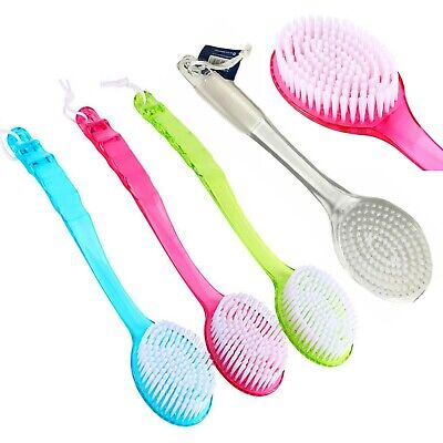 Super Soft Bath Brush with Rubber Grip Long Curved Handle Body Cleaning Hygiene