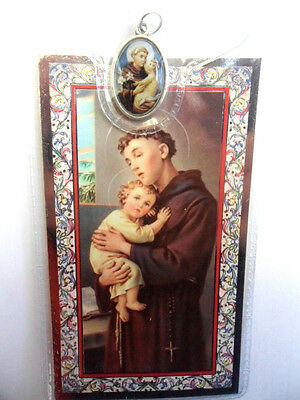 Prayer card and medal in plastic wallet. Saint St. Anthony