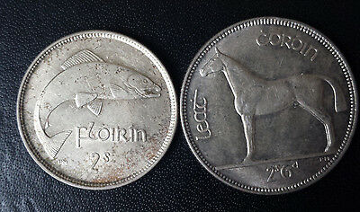 Eire coins - 1928 Ireland florin and halfcrown