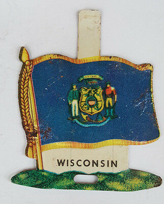 1959 Tin Litho Nabisco Shredded Wheat State Flag for Wisconsin