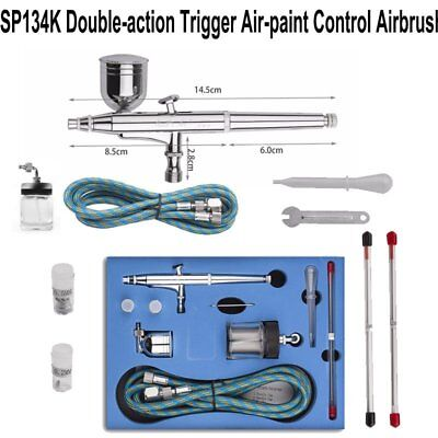 Dual Action Control Airbrush Kit Spray Gun Paint Art Craft Kit 0.2mm/0.3mm/0.5mm