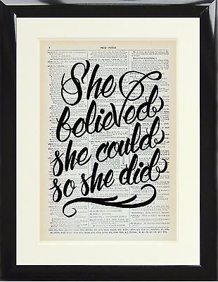 Dictionary Art Print She believed She Could So She Did Picture Vintage Quote