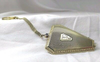 Antique Vintage Art Deco Powder Compact Case Vanity Solid 14k Gold Aquamarine