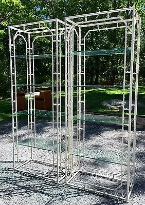 2x vtg Chinese Chippendale FAUX BAMBOO Chinoiserie ETEGERE BOOKCASE shelves 60s