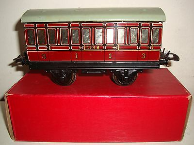 Hornby Series O-No.1 LMS Passenger Coach 1st/3rd -maroon - good/boxed c1950
