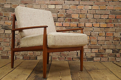 60er GRETE JALK TEAK SESSEL DANISH EASY CHAIR VINTAGE FRANCE & SON Mid-Century