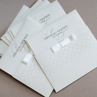 Personalised Pocket Wedding Invitations Day or Evening Pressed Goldened