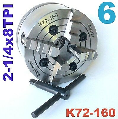 "1 pc Lathe Chuck 6"" 4 Jaw Independent w/Back Plate 2-1/4""-8TPI K72-160 sct888!!!"