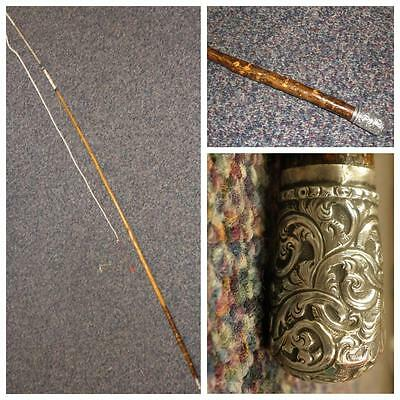 Antique ladies single driving whip- hallmarked Birmingham 1878 floral silver top