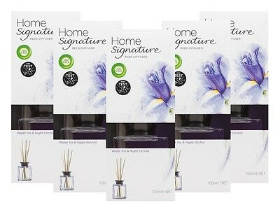 NEW Air Wick Home Signature Reed Air Diffuser Water Iris & Night Orchid 100ml x5