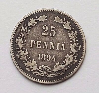 Dated : 1894 - Finland - 25 Pennia - Silver Coin