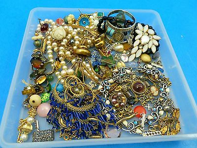 Antique Vintage 1 1/4LB Junk Repair Craft Jewelry Lot Stones Findings Necklaces
