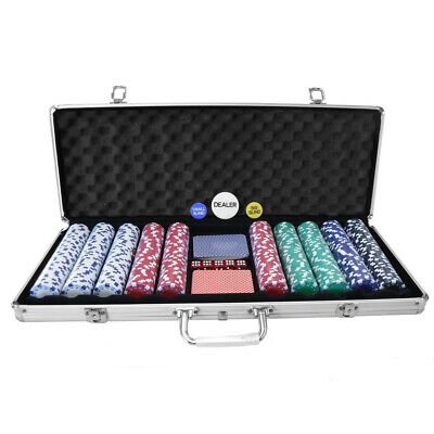 NEW! Poker Set - 500 Piece Texas Hold Em Chips Cards Dice Decks Casino Case