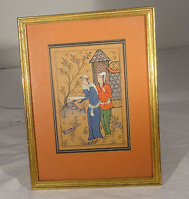 Antique Vintage Persian Ottoman Watercolor Painting Framed Arabic