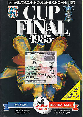 1985 FA Cup Final Everton v Manchester United Programme & Ticket Man Utd