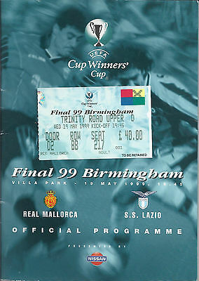 1999 Cup Winners Cup Final Real Mallorca v Lazio Programme + Ticket Originals