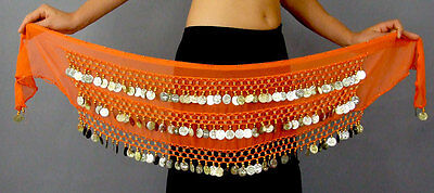 Belly Dance Gold Coin Belt Chiffon Hip Scarf Wrap Bollywood Devs Costumes