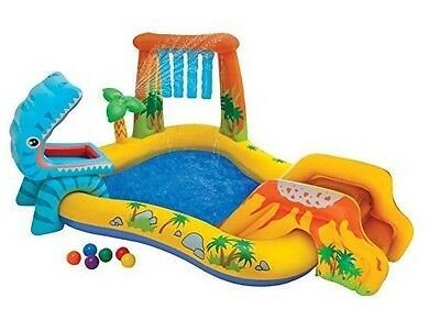 Inflatable Play Centre Kids Swimming Pool Slide Garden Patio Paddling Dinosaur