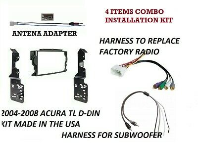 Double Din Dash Install Radio Stereo Kit w/ Wiring Harness Fits 2004-08 Acura TL