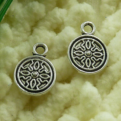 free ship 120 pieces tibetan silver flower charms 14x10mm #2943