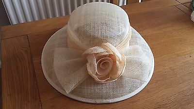 Cream Wedding Occasion Races Christening Straw Hat Flower Bow Excellent