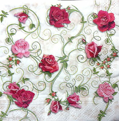 4 Single Vintage Paper Napkins, Party, Lunch, for Decoupage, Decopatch R Roses