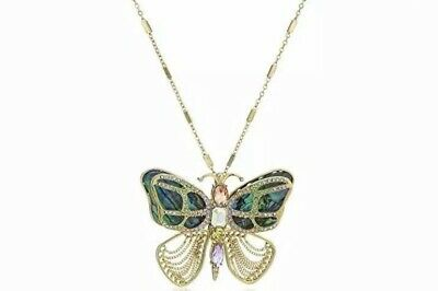 $52 Betsey Johnson Buzz Off Mother-Of-Pearl Butterfly Pin Pendant Necklace BJU3