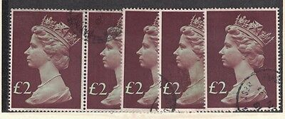 Great Britain MH175 - Queen Elizabeth II.  Used Singles x5  #02 GBMH175
