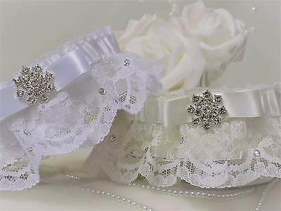 Bridal Garter. White/Ivory lace & satin. Swarovski crystals & 'Something blue'