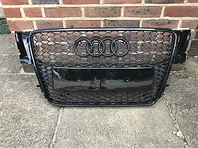 Audi A5 S-Line Rs5 Style S5 Front Bumper Radiator Grille Gloss Black 2007-11
