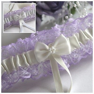 """Lilac Lace & Satin Bridal Garters With Ivory Or White.  Bow & """"something Blue"""""""