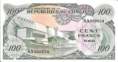 1963 Congo Democratic Republic 100 Francs UNC Pick: 1a Prefix: AA